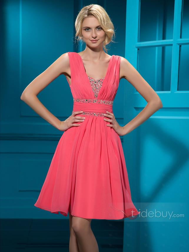 Charming A-Line Straps Knee-length Empire Zipper-up Beading Homecoming Dress