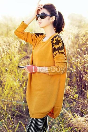 Chic Multi Color Sunflower Long Sleeve Women Sweater