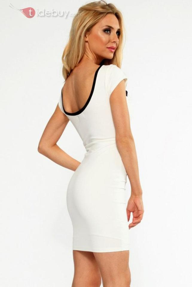 White Black Cross Over Front Short Sleeve Bodycon Dress